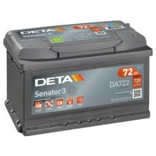 Akumulators 12V, 72Ah, DETA SENATOR